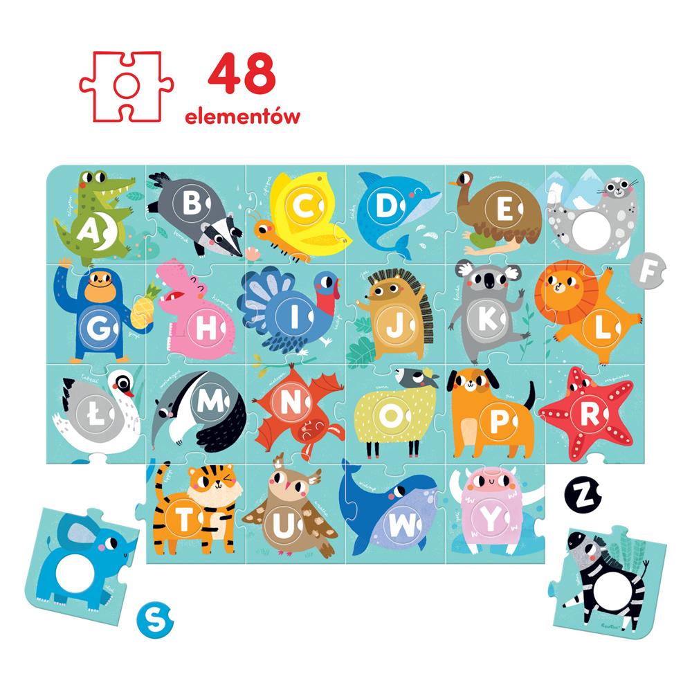puzzle podłogowe dla przedszkolaka alfabet