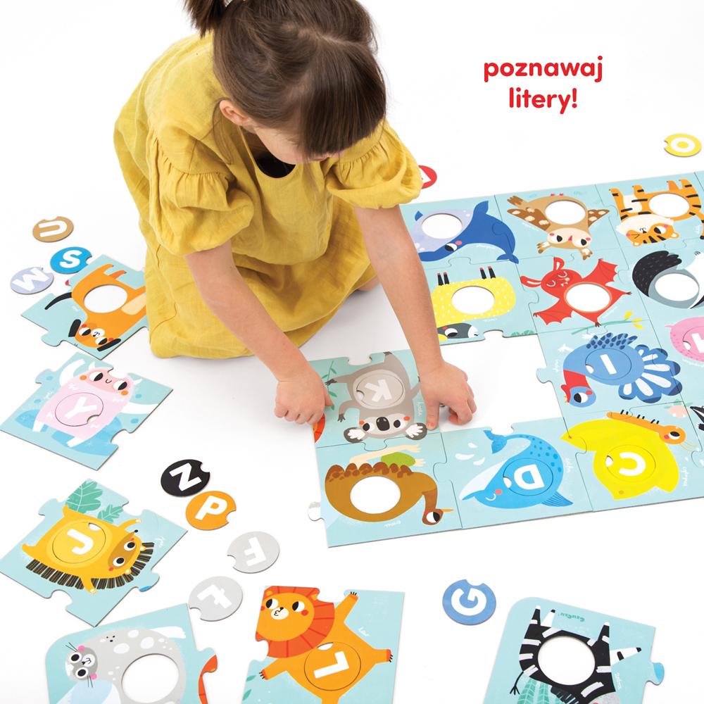 poznawaj litery z puzzlami Alfabet