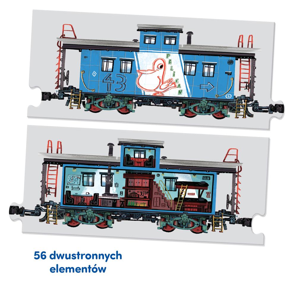 dwustronne puzzle pociągi