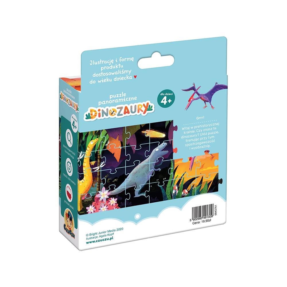 Puzzle panoramiczne dinozaury tył