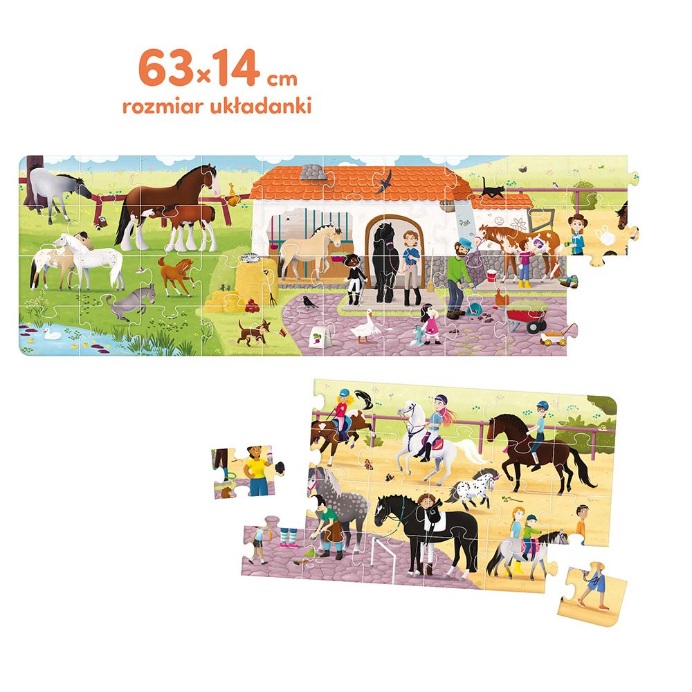puzzle panoramiczne 60 elementów konie w stadninie