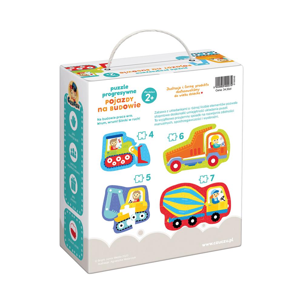 puzzle progresywne pojazdy na budowie pudełko