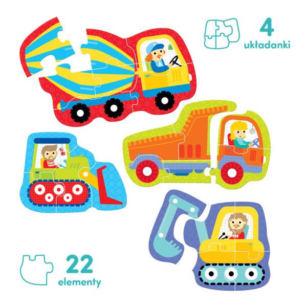 puzzle progresywne pojazdy na budowie zawartość