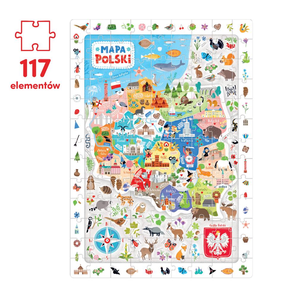 puzzle ponad 100 el mapa Polski