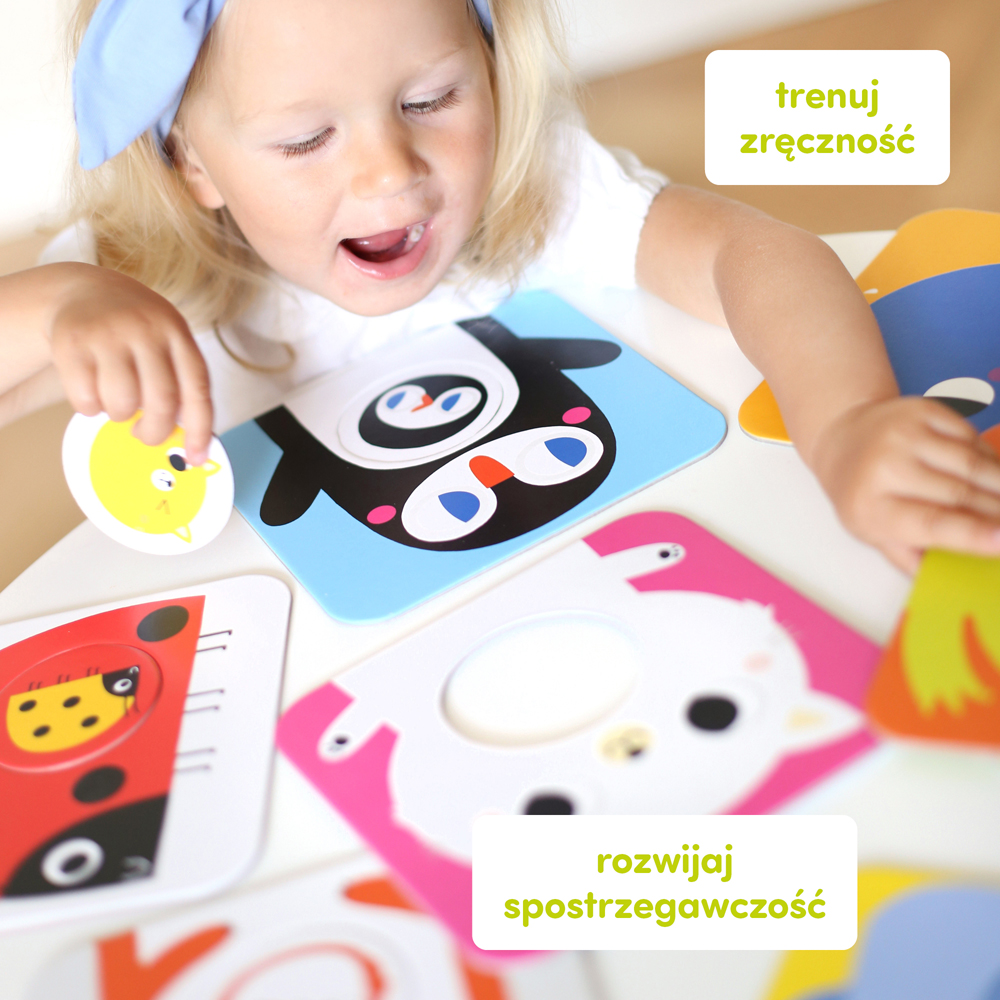 Puzzle dla dzieci pingwinek kotek biedronka