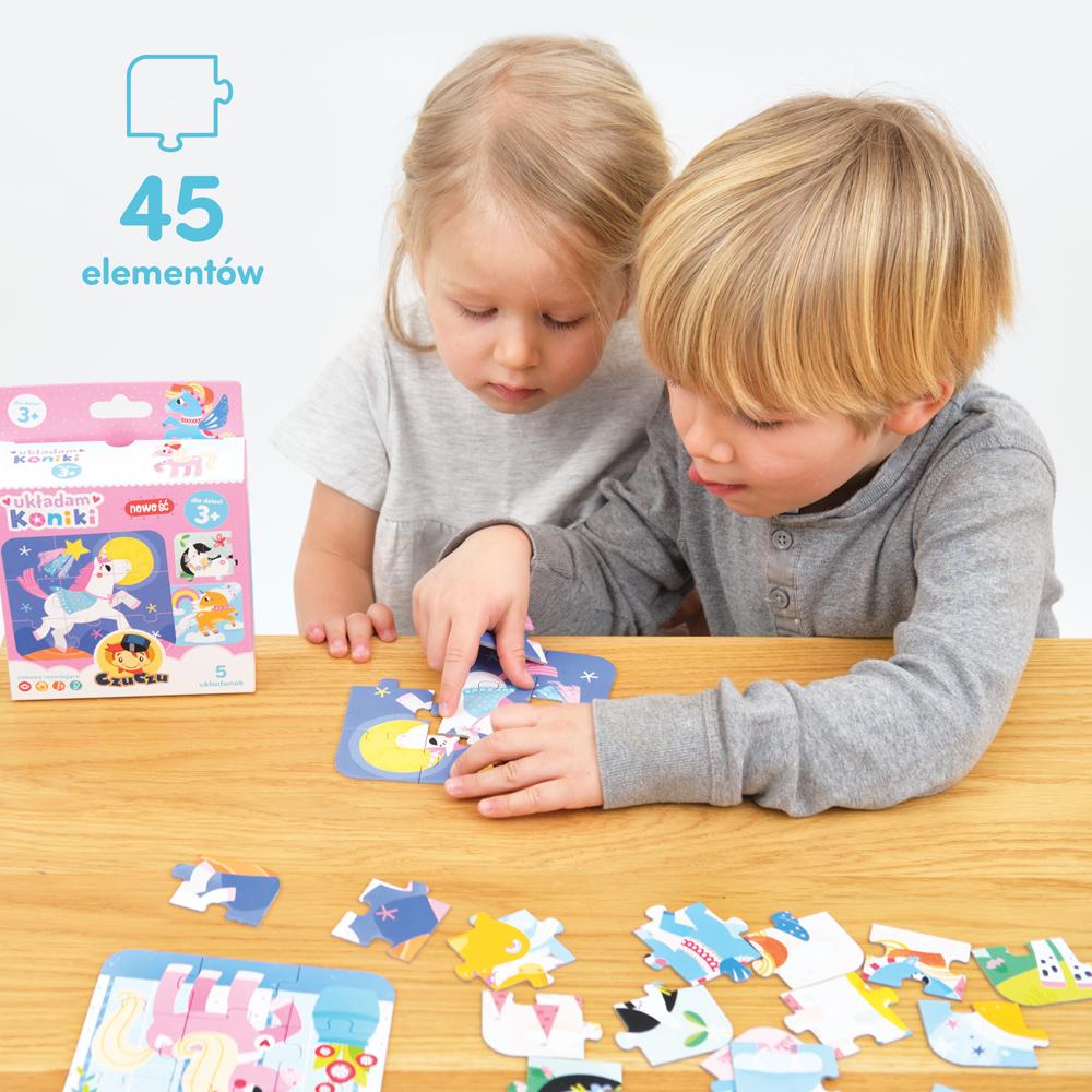 puzzle dla przedszkolaków koniki