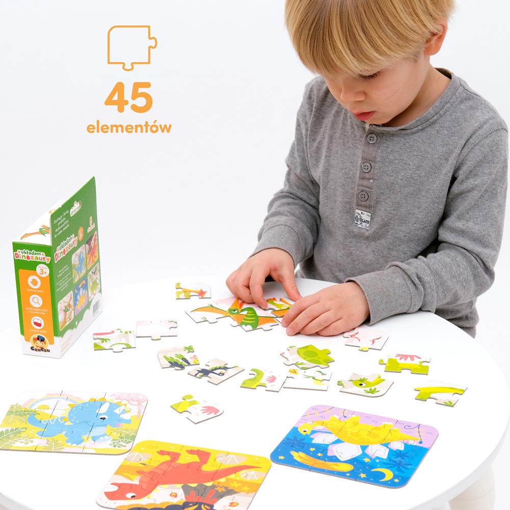 puzzle z dinozaurami dla 3 latka