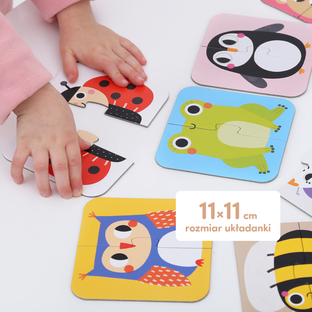 pierwsze puzzle biedronka, żabka, sowa, pingwinek, pszczółka
