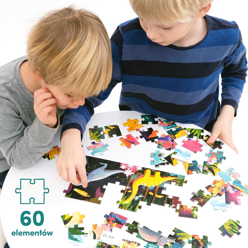 wieloelementowe puzzle dinozaury