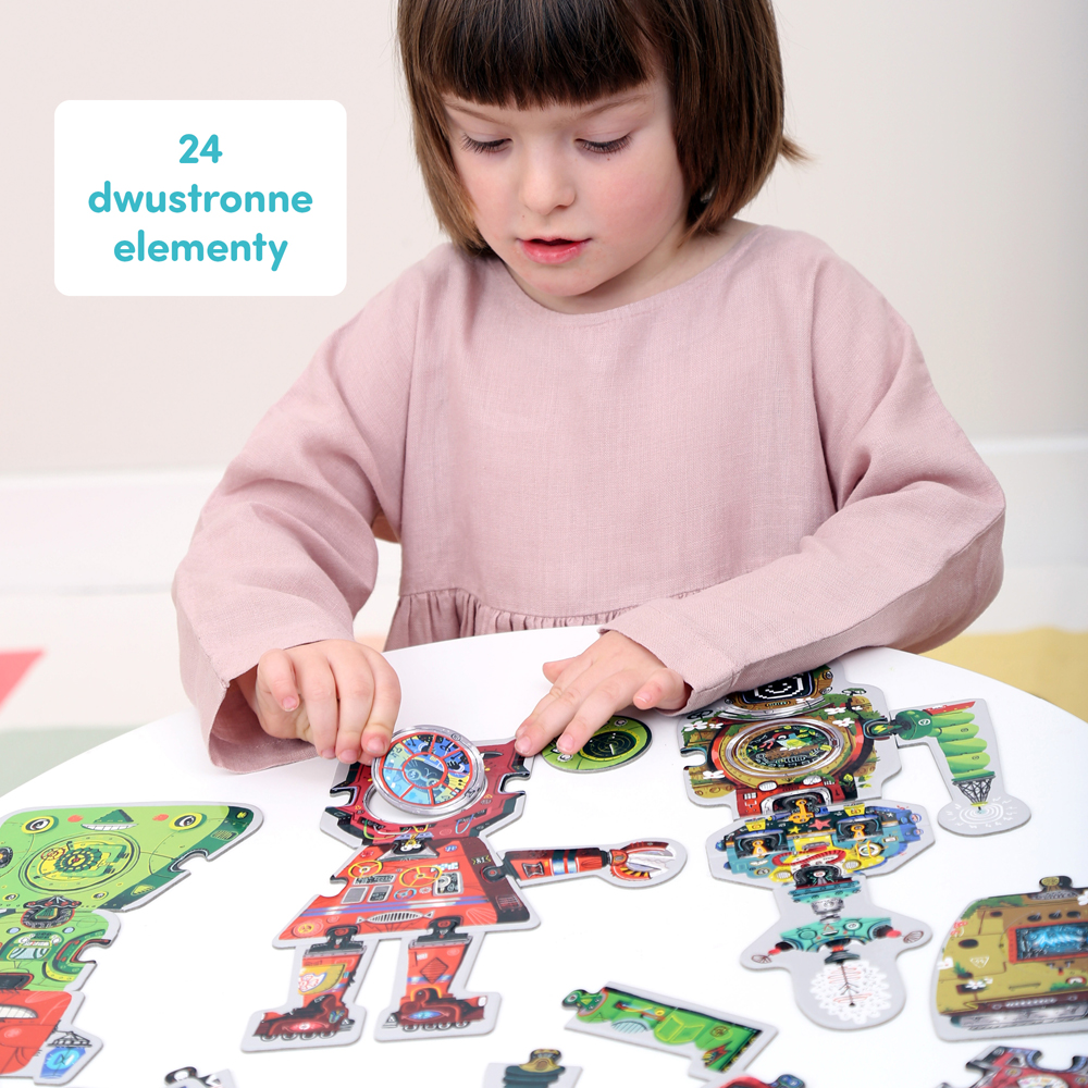 roboty dwustronne puzzle kreatywne