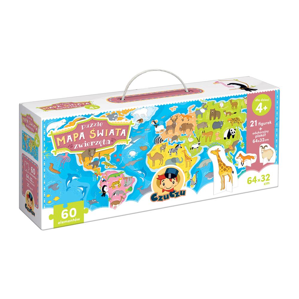 Puzzle 4+ Mapa świata zwierzęta z figurkami