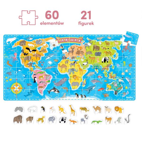 mapa świata 60 puzzli + figurki