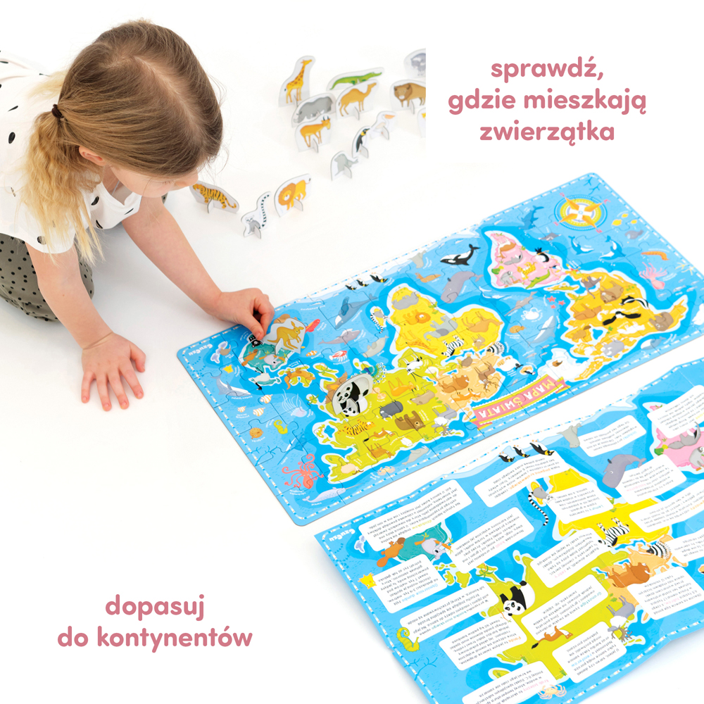 puzzle, figurki, plakat edukacyjny Mapa świata