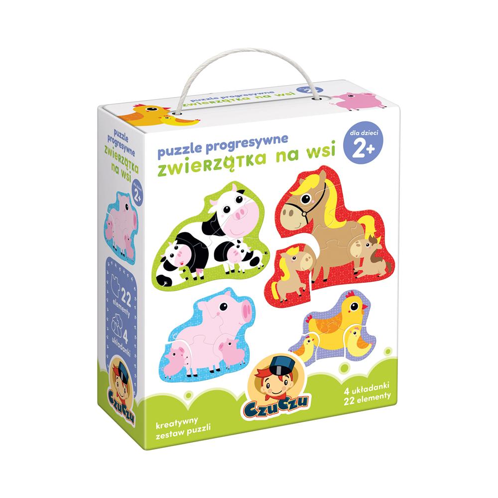 Puzzle progresywne Zwierzątka na wsi dla dzieci 2+
