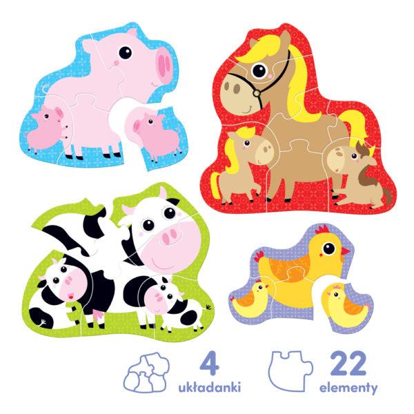 puzzle krówka świnka kura koń