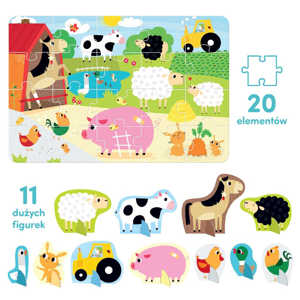 puzzle i figurki wieś dla 2 latka
