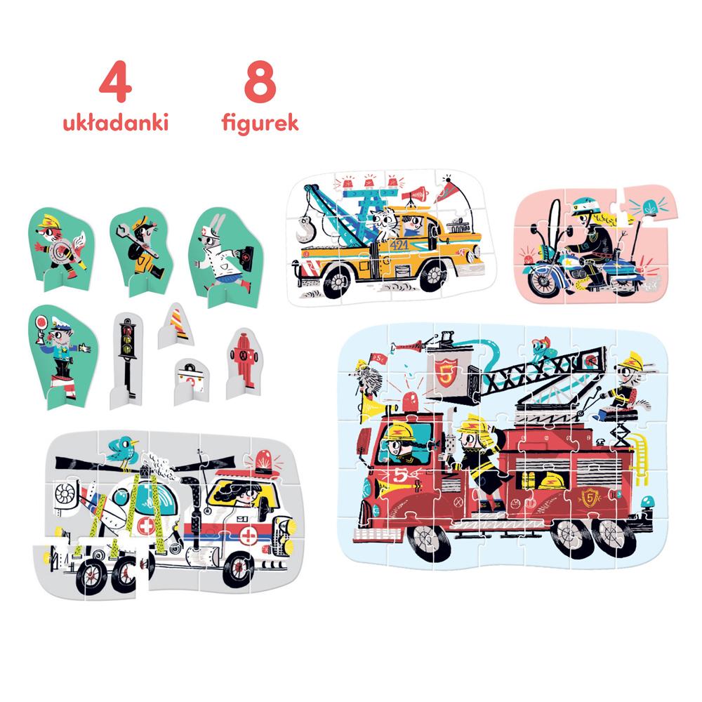 4 układanki 8 figurek z pojazdami