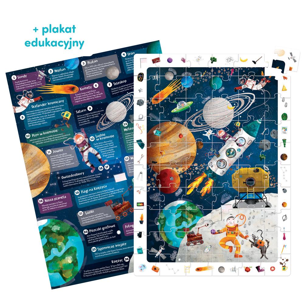 edukacyjne puzzle i plakat kosmos