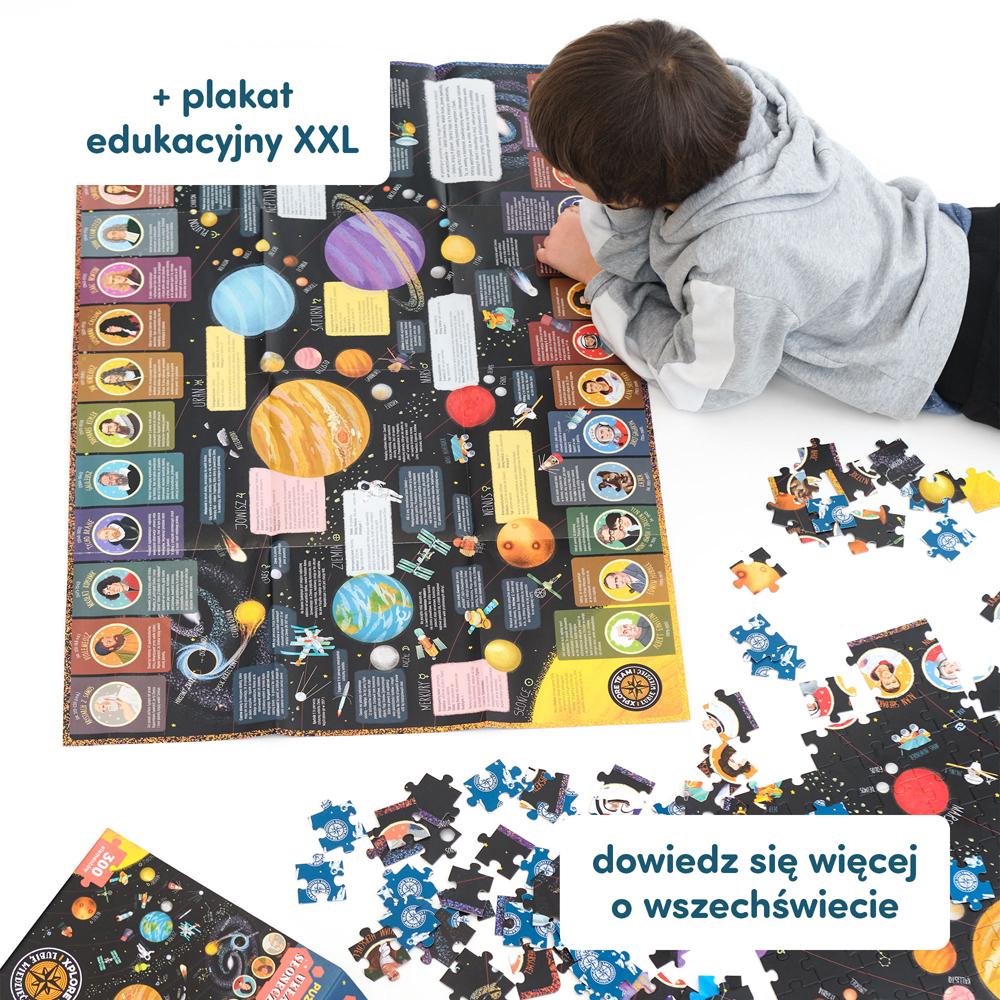 Nauka o wszechświecie z puzzlami z plakatem