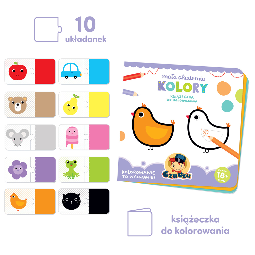 książeczka do kolorowania i puzzle kolory