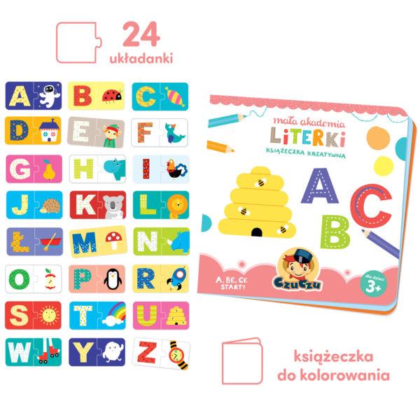 puzzle z literkami i książeczka do kolorowania