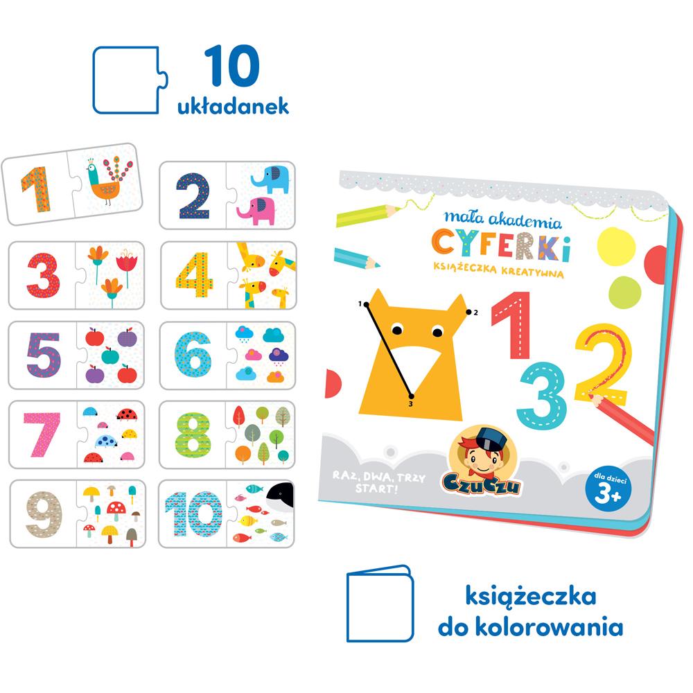 puzzle i kolorowanka cyferki dla przedszkolaka