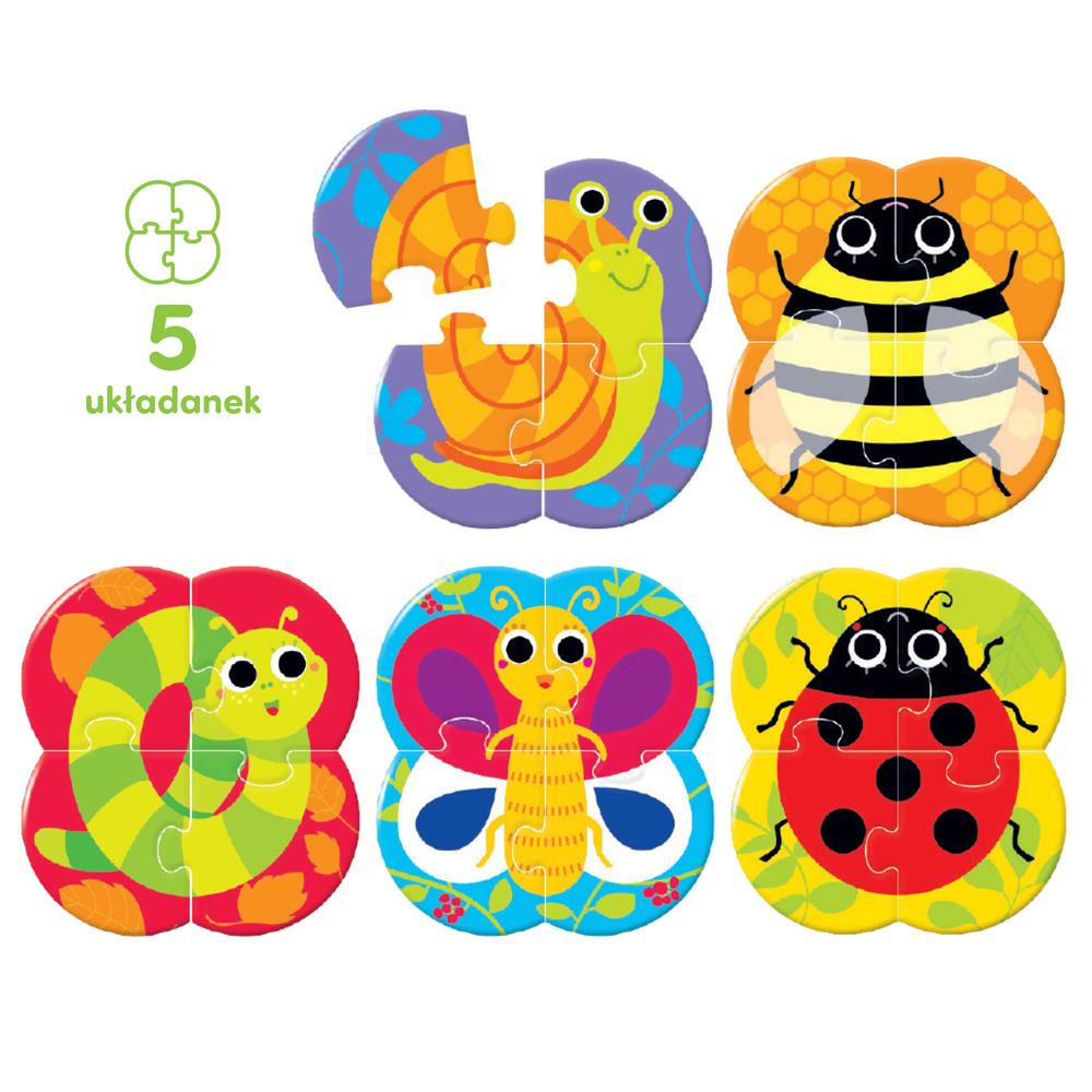 5 układanek robaczki dla dzieci 2+