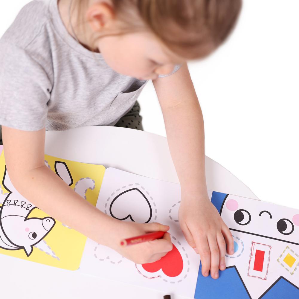 rysowanie po śladzie i kolorowanie dla dzieci 3+