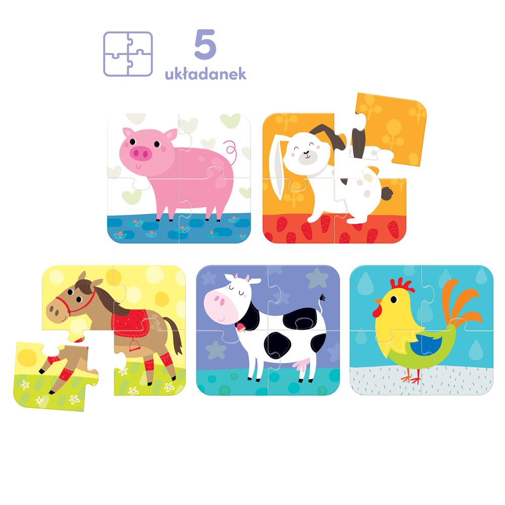 puzzle 4 elementy zwierzątka