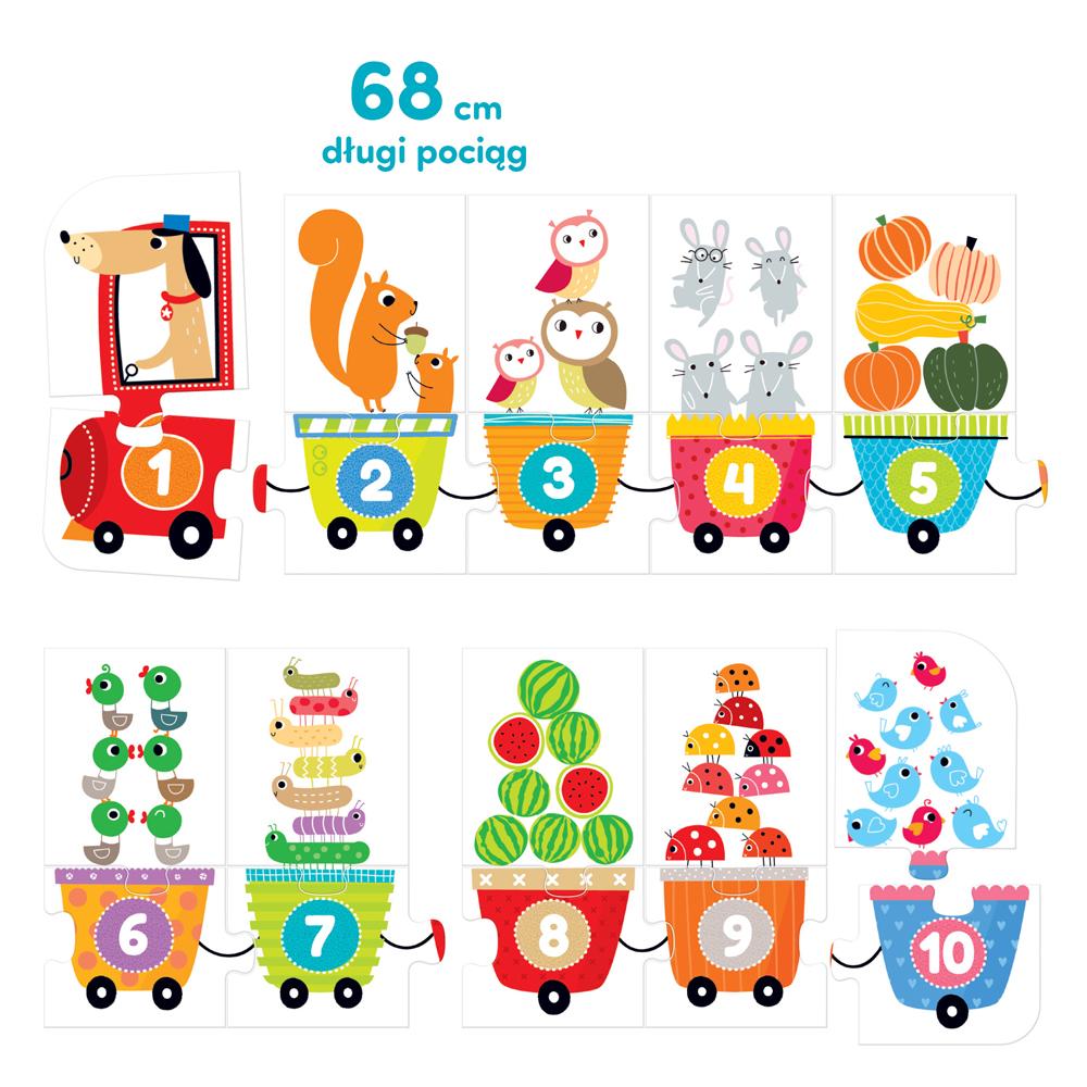 puzzlowy pociąg z liczbami
