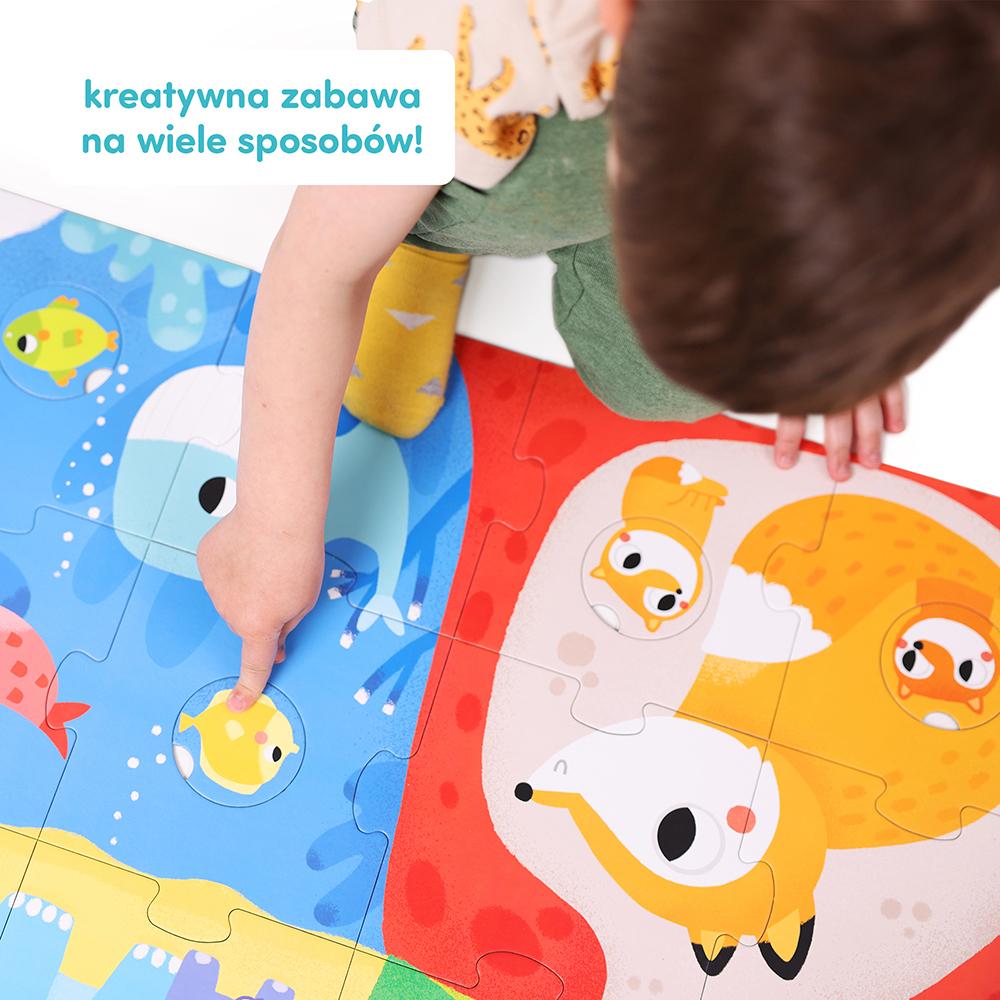 kreatywna zabawa na wiele sposobów z puzzlami z dziurką zwierzęta