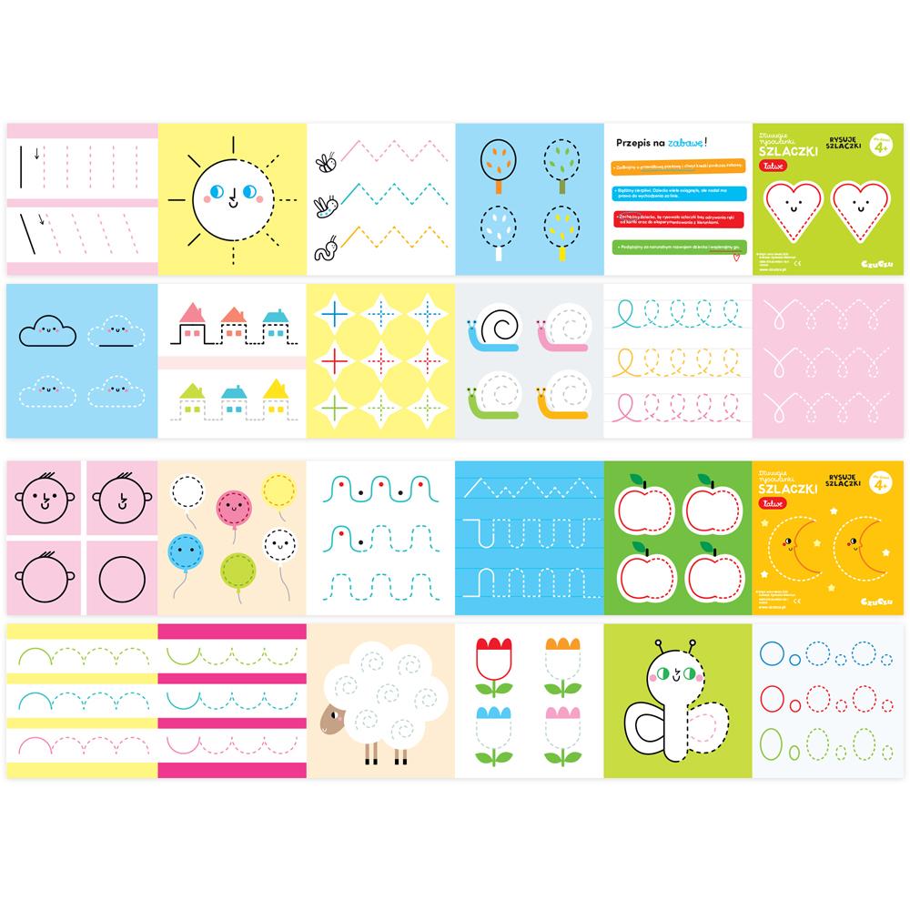 Szlaczki łatwe książeczki do rysowania i kolorowania 4+