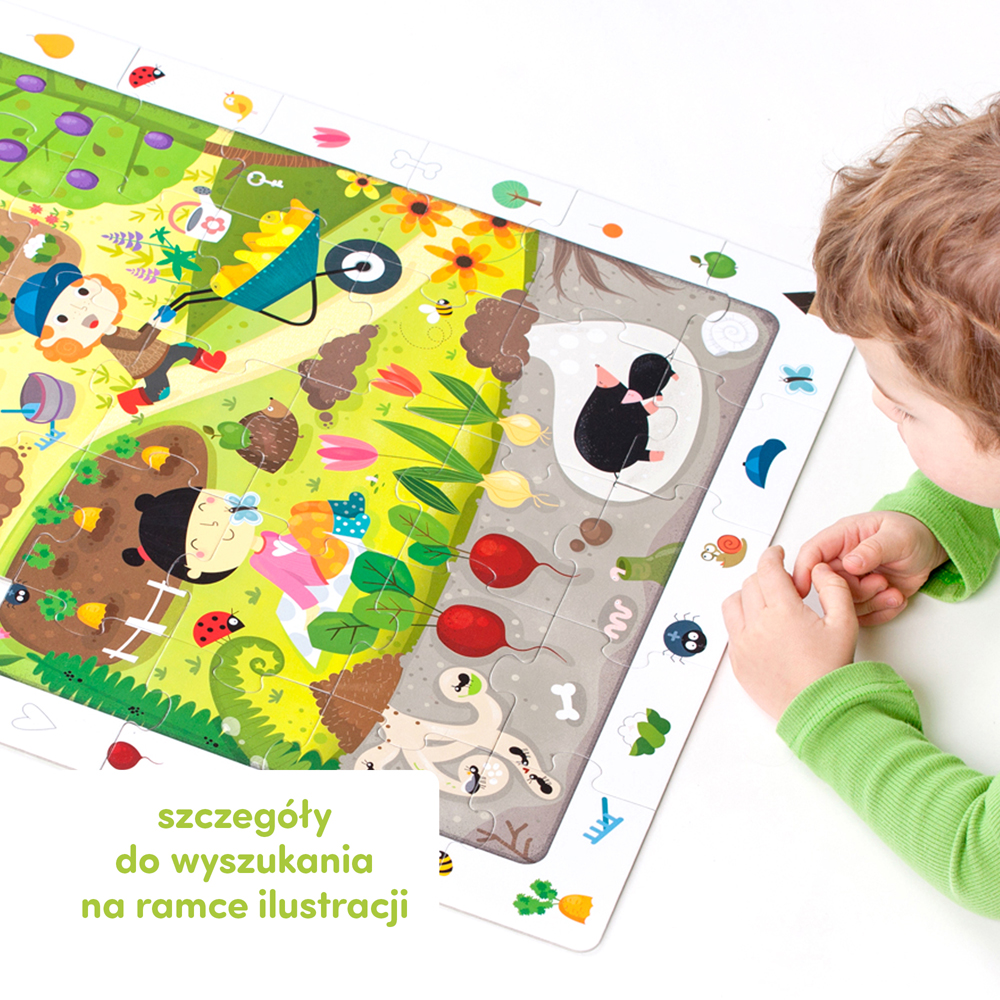 puzzle z ramką do szukania ogród