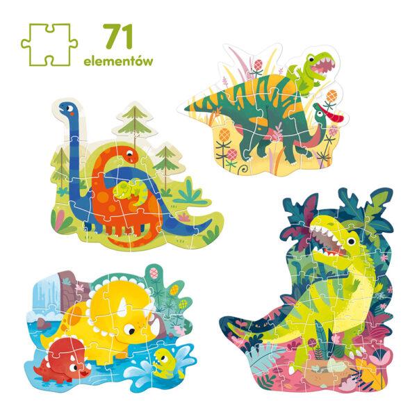 4 puzzle dinozaury