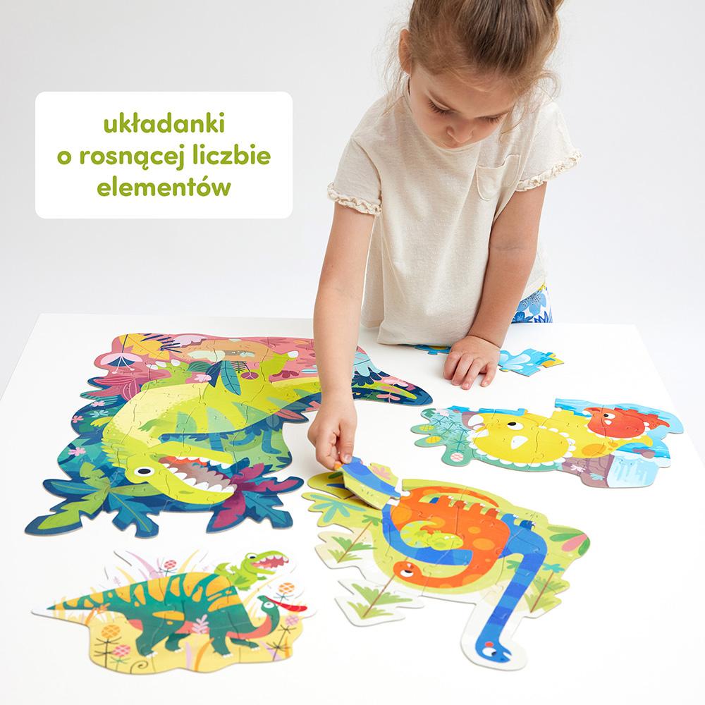 puzzle o różnej liczbie elementów z dinozaurami