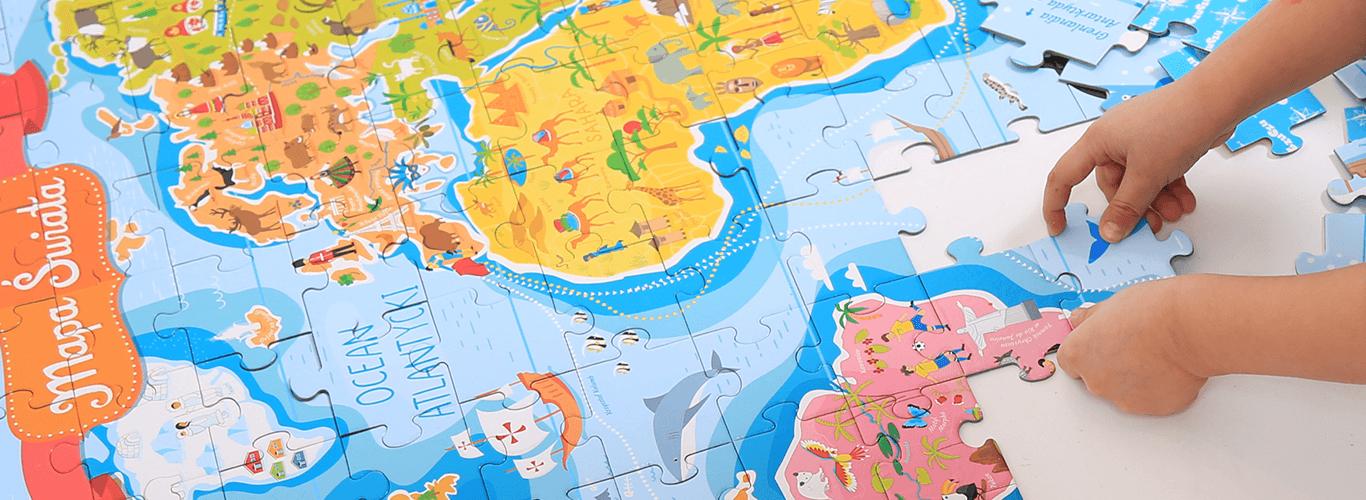 puzzlowa mapa świata